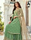 image of Georgette Fabric Sangeet Function Wear Sea Green Color Embroidered Palazzo Suit