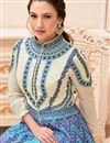 photo of Gauhar Khan Featuring Cream And Sky Blue Color Designer Embroidered Unstitched Salwar Kameez In Banglori Silk And Satin Fabric