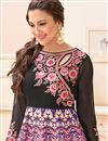 photo of Gauhar Khan Featuring Banglori Silk And Satin Unstitched Designer Anarkali In Black Color With Embroidery Design