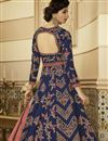photo of Navy Blue Embroidered Party Wear Art Silk Fabric Anarkali Salwar Kameez