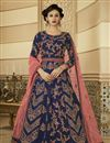 image of Navy Blue Embroidered Party Wear Art Silk Fabric Anarkali Salwar Kameez