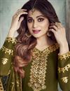 photo of Shamita Shetty Function Wear Sharara Top Lehenga In Mehendi Green Georgette