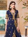 photo of Navy Blue Color Designer Embroidered Anarkali Salwar Kameez In Art Silk Fabric