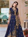 image of Navy Blue Color Designer Embroidered Anarkali Salwar Kameez In Art Silk Fabric