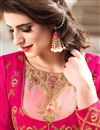 photo of Occasion Wear Peach Color Embroidered Anarkali Salwar Kameez In Art Silk Fabric