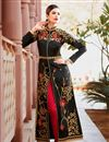 photo of Black Color Art Silk Fabric Function Wear Embroidered Straight Cut Suit