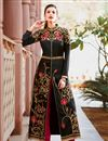 image of Black Color Art Silk Fabric Function Wear Embroidered Straight Cut Suit
