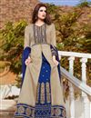 image of Embroidery Work On Cream Color Art Silk Fabric Wedding Wear Anarkali Salwar Suit