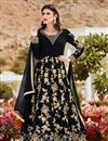 image of Embroidery Designs On Black Color Georgette Fabric Function Wear Anarkali Salwar Suit