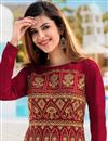 photo of Embroidered Art Silk Fabric Red Color Function Wear Anarkali Suit
