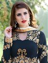photo of Embroidery Work On Navy Blue Georgette Function Wear Anarkali Salwar Suit