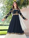 image of Embroidery Work On Navy Blue Georgette Function Wear Anarkali Salwar Suit
