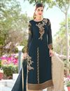 image of Georgette Embroidered Designer Palazzo Style Salwar Kameez In Teal