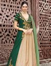 image of Fancy Party Wear Dark Green And Cream Anarkali Dress