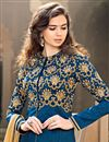 photo of Blue Georgette-Jacquard Sharara Top Designer Lehen