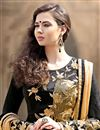 photo of Black Georgette-Jacquard Sharara Top Designer Lehe