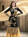 image of Black Georgette-Jacquard Sharara Top Designer Lehe