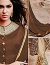 photo of Dazzling Brown And Cream Color Designer Salwar Sui