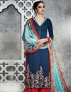 image of Alluring Cotton Satin Designer Navy Blue Color Palazzo Salwar Kameez
