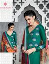 photo of Green Color Pakistani Style Cotton Satin Palazzo Salwar Suit