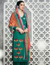 image of Green Color Pakistani Style Cotton Satin Palazzo Salwar Suit