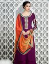 image of Cotton Satin Party Wear Purple Color Designer Palazzo Suit