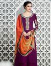 image of Cotton Satin Party Wear Purple Color Designer Palazzo Suit