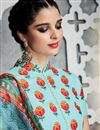 photo of Aqua Color Cotton Satin Tantalizing Pakistani Style Palazzo Suit