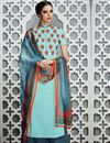 image of Aqua Color Cotton Satin Tantalizing Pakistani Style Palazzo Suit