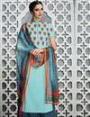 image of Aqua Color Cotton Satin Tantalizing Pakistani Style Palazzo Suit