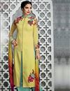 image of Yellow Color Pakistani Style Cotton Satin Palazzo Salwar Suit
