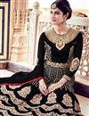 photo of Black Fancy Floor Length Anarkali Dress In Georgette