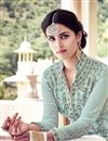 photo of Wedding Special Georgette Fancy Embroidered Palazzo Salwar Suit In Cyan