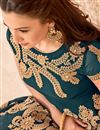 photo of Gauhar Khan Teal Georgette Floor Length Anarkali Dress