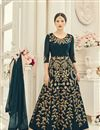 image of Gauhar Khan Teal Color Embroidered Anarkali Salwar Suit In Georgette Fabric