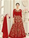 image of Party Wear Georgette Red Color Anarkali Salwar Suit Featuring Gauhar Khan
