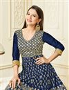 photo of Gauhar Khan Featuring Art Silk Navy Blue Designer Anarkali Suit With Embroidery Work