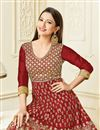 photo of Gauhar Khan Featuring Embroidered Maroon Party Wear Anarkali Suit In Art Silk Fabric