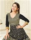 photo of Gauhar Khan Black Art Silk Party Wear Anarkali Salwar Suit