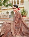 photo of Light Wine Color Crepe Fabric Festive Wear Palazzo Salwar Suit With Embroidery Work