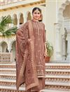 image of Light Wine Color Crepe Fabric Festive Wear Palazzo Salwar Suit With Embroidery Work