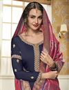 photo of Function Wear Navy Blue Designer Embroidered Georgette Straight Cut Suit