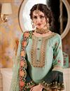 photo of Light Cyan Color Georgette Fabric Occasion Wear Sharara Palazzo Suit With Embroidery Work