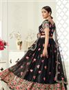 picture of Net Fabric Embroidery Work Wedding Wear Trendy Lehenga Choli In Black Color