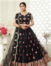 image of Net Fabric Embroidery Work Wedding Wear Trendy Lehenga Choli In Black Color