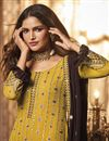 photo of Sangeet Wear Mustard Color Embroidered Fancy Sharara Suit In Georgette Fabric