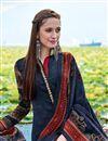photo of Straight Cut Navy Blue Pashmina Salwar Kameez-201B