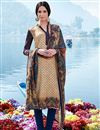 image of Cream Party Wear Pashmia Salwar Kameez-202A