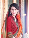 photo of Straight Cut Red Pashmina Salwar Kameez-203A