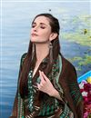 photo of Straight Cut Green-Brown Pashmina Salwar Kameez-20